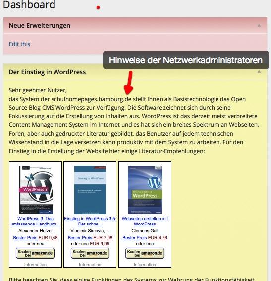Informationen für die Benutzer im Dashboard - AWeggen